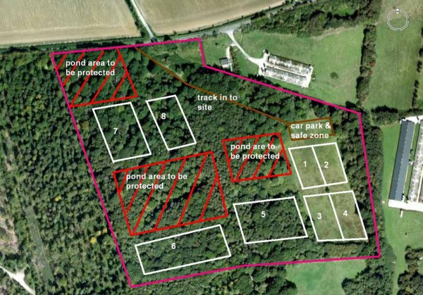 Paintball site map showing protected areas